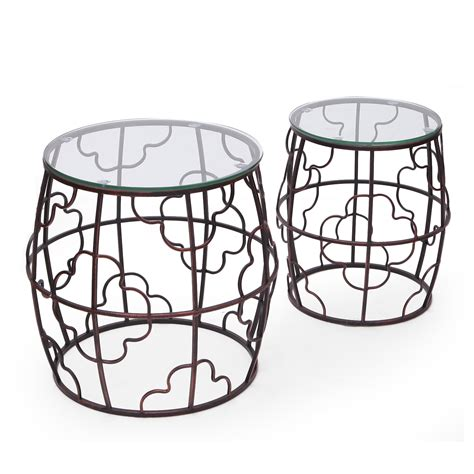 metal accent table with glass top joveco antique bronze quatrefoil designed accent metal