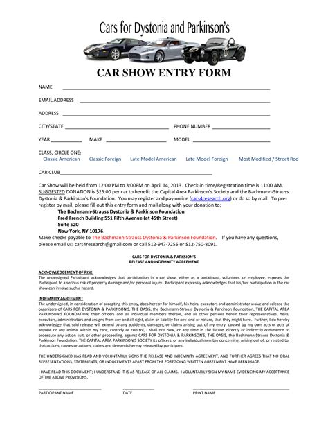 sle registration form template show entry form template 28 images car show