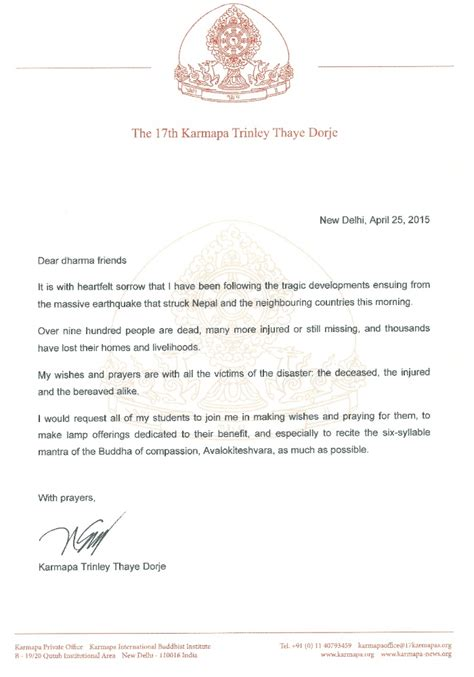 Official Letter Of Condolence Condolence Letter Regarding The Earthquake In Nepal The 17th Karmapa Official Website Of