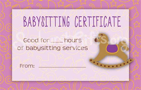 items similar to printable babysitting gift certificate