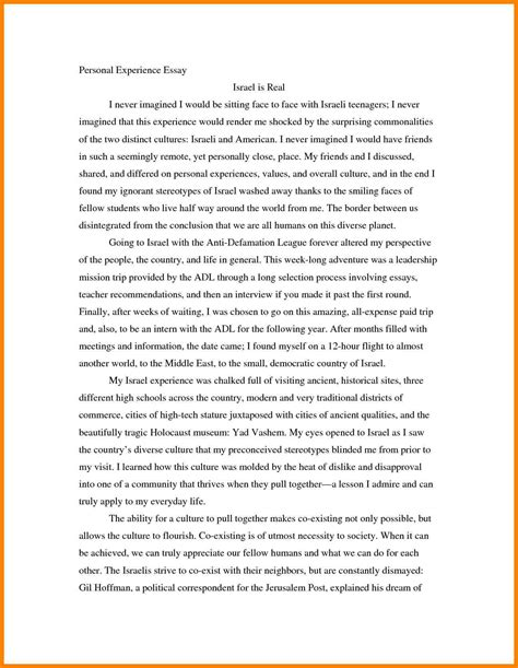 Writing Experience Essay by 4 Personal Writing Essay Exles Address Exle
