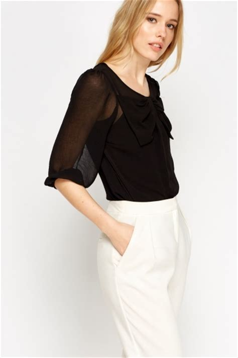 Sheer Black Blouse With Bow by Bow Front Sheer Blouse Black Or White Just 163 5