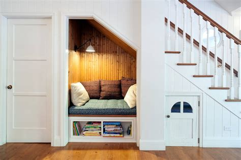 under the stairs design idea www buildmyart com small bookshelf under reading nook under stairs with white