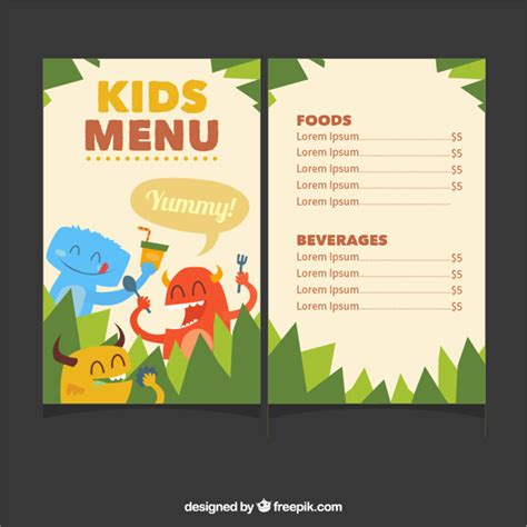 kids menu template with cute monsters vector free download