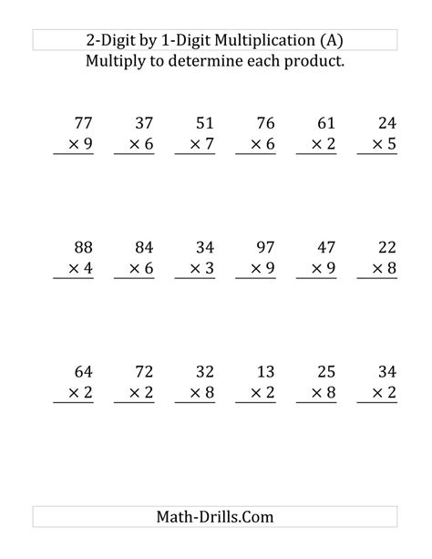 Free Printable 2 Digit By 1 Digit Multiplication Worksheets by Free Coloring Pages Of 2 Digit Multiplication