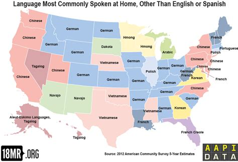 usa second language map infographic most commonly spoken languages in the us by