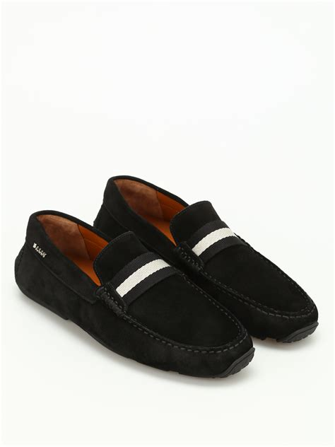 Sepatu Loafers Bally Suede Black 1 Pearce Band Detail Suede Loafers By Bally Loafers