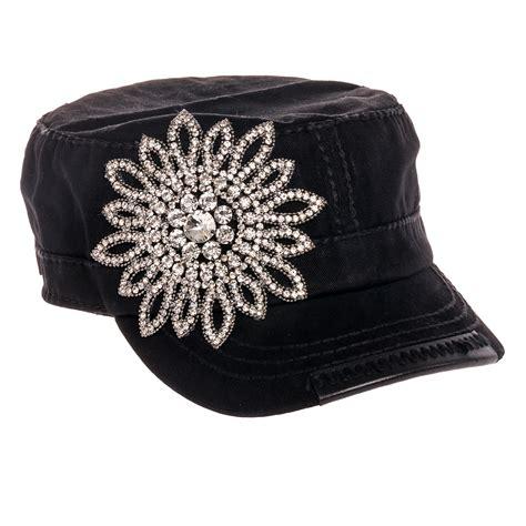 flower design hats olive pique rhinestone flower design cadet military