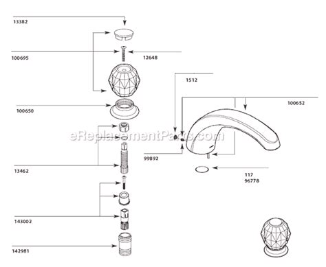 Moen Kitchen Faucet Cartridge Removal by Moen T999 Parts List And Diagram Ereplacementparts Com