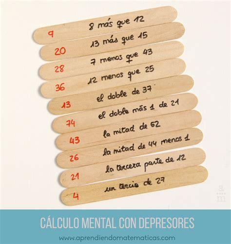 imágenes juego mental c 225 lculo mental con depresores aprendiendo matematicas