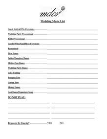 Wedding Music List Template Pinterest