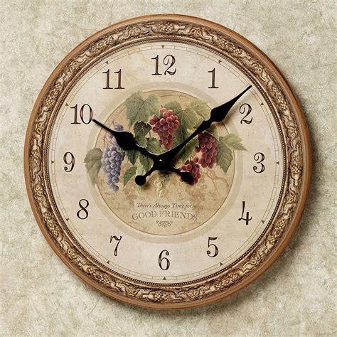 round wall clock grapes winery