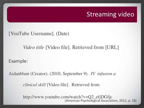 apa format video file roseman university library apa citation reference page