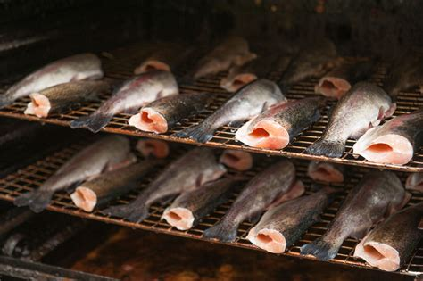 Shelf Of Smoked Fish by Fish And Term Food Storage