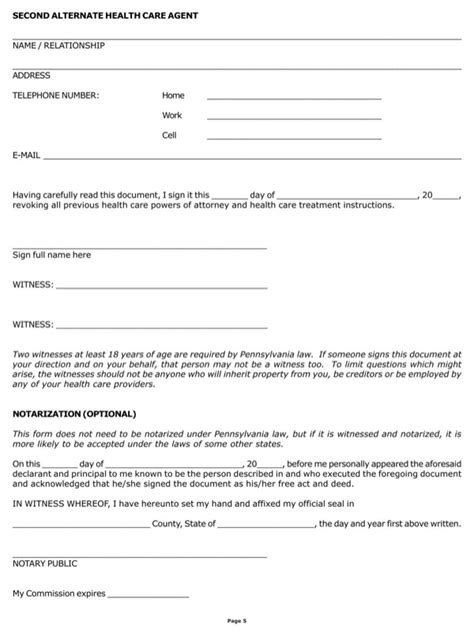 will template pa download pennsylvania combined living will and health care power of attorney form for free