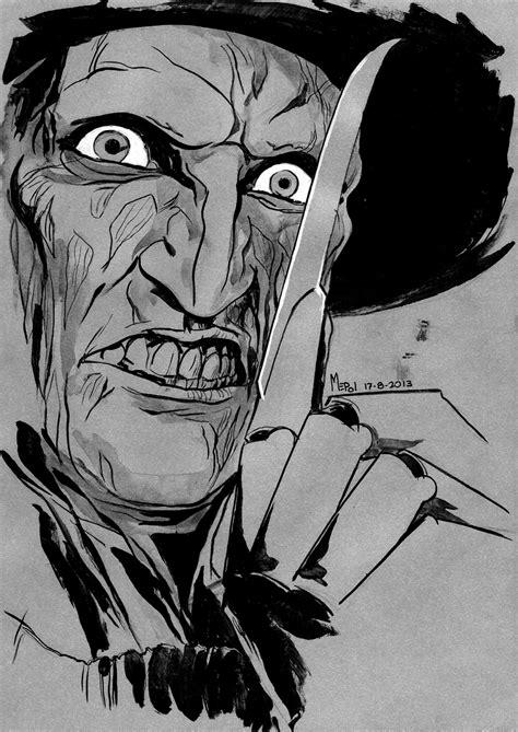 imagenes a blanco y negro de miedo dibujo de freddy krueger nightmare on elm street mepol