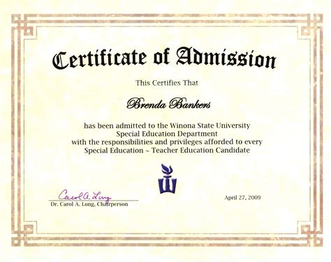 Admission Into Education Program Acceptance certificate of admission to winona state university s