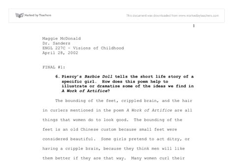 Doll Poem Essay by Doll Poem Essay Tips For Writing The Doll Poem Essay All About That Bass Rdquo