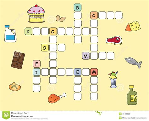 easy crossword puzzles about food crossword stock illustration illustration of solution