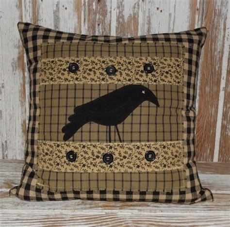 primitive couch pillows primitive decor black tan crow throw pillow country