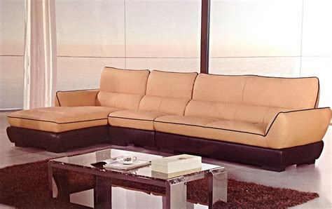 Modern Leather Sofa With Chaise Modern Contemporary Camel Brown Leather Sectional Sofa Chaise Chair Set Ebay
