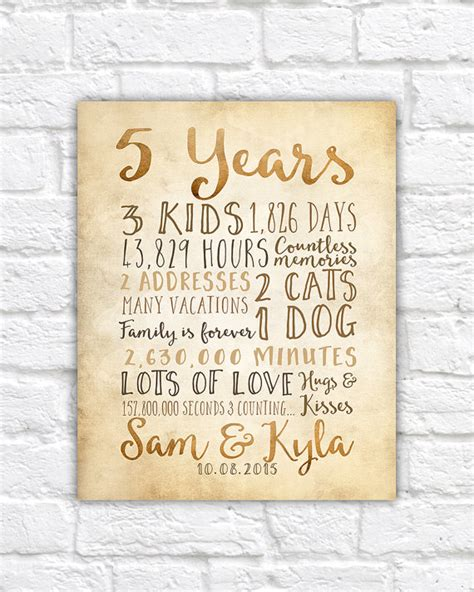 Wedding Anniversary Gifts 5 Years by 5 Year Anniversary Gifts Rustic Sign For Wall