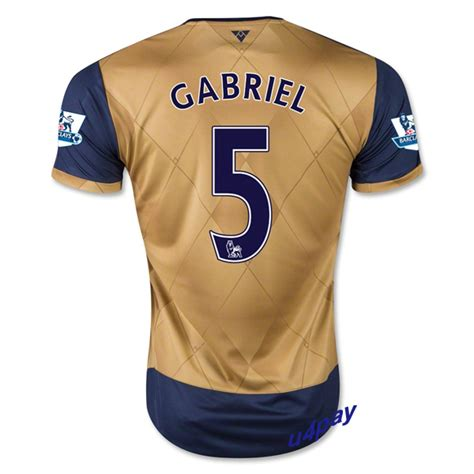 Jersey Arsenal Away 5 Arsenal 15 16 Gabriel 5 Away Soccer Jersey