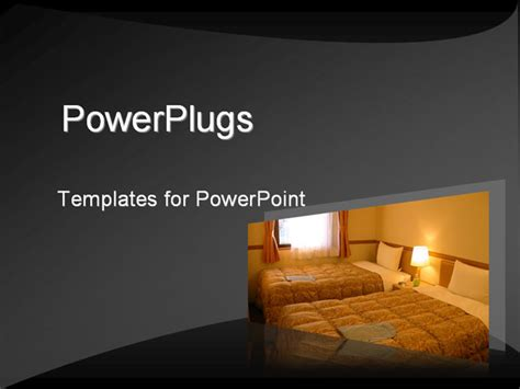 His Grey Template With Well Lit Hotel Room Is A Good Hotel Powerpoint Presentation Templates