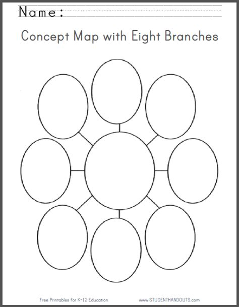 printable bubble organizer concept map with eight branches free printable worksheet