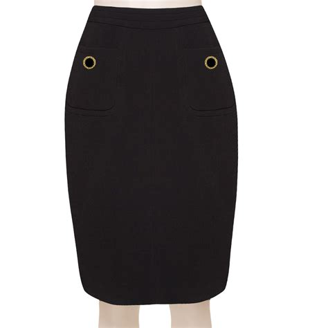 Black Pencil Skirt tailored wool blend black pencil skirt custom fit