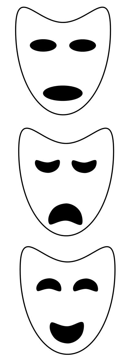 printable greek mask template drama mask templates clipart best