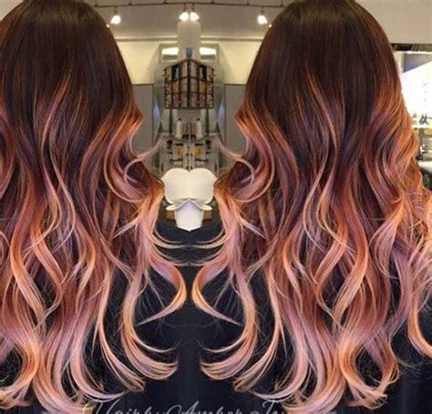 brunette rose gold hair balayage rose gold