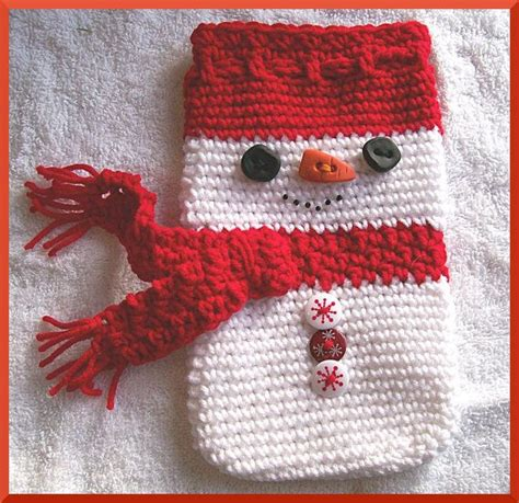 crochet pattern christmas gift bag snowman