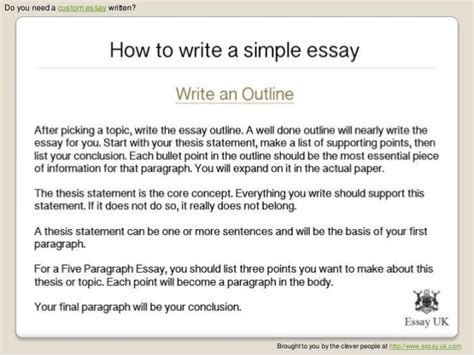 How To Write A Thesis Essay by How To Write A Simple Essay Essay Writing Help