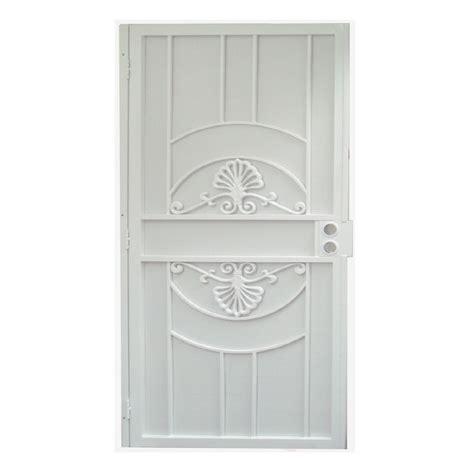 Gatehouse Security Doors by Shop Gatehouse Alexandria White Steel Surface Mount Single