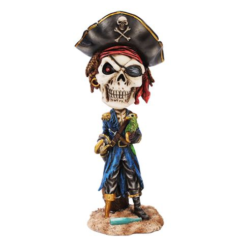 unicorn bobblehead pirate with parrot bobblehead pirate skeleton gifts