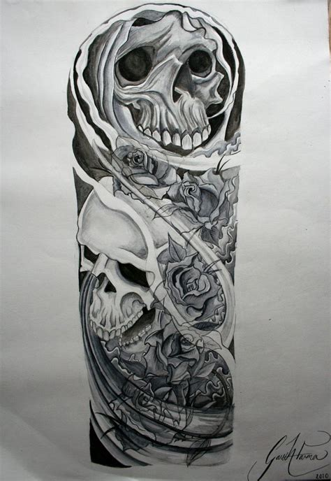 dark tattoo sleeve designs skull and roses sleeve designs skulls and roses