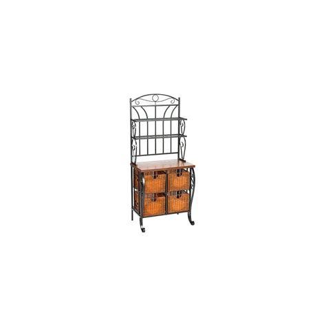 Iron Bakers Rack With Wicker Storage by Baker Rack Iron Baker S Rack With Wicker Storage Black