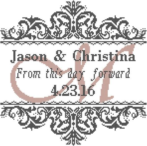 Wedding Announcement Cross Stitch Patterns by Modern Wedding Cross Stitch Pattern From This Day Forward With