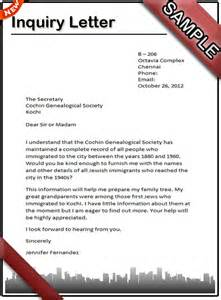 how to write an inquiry letter sle