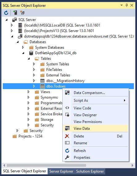 tutorial website database sql database を使用して azure に asp net アプリを作成する microsoft docs