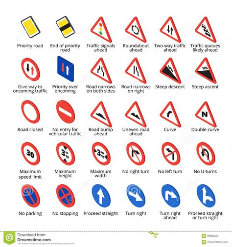 printable european road signs isometric european traffic signs vector road icons