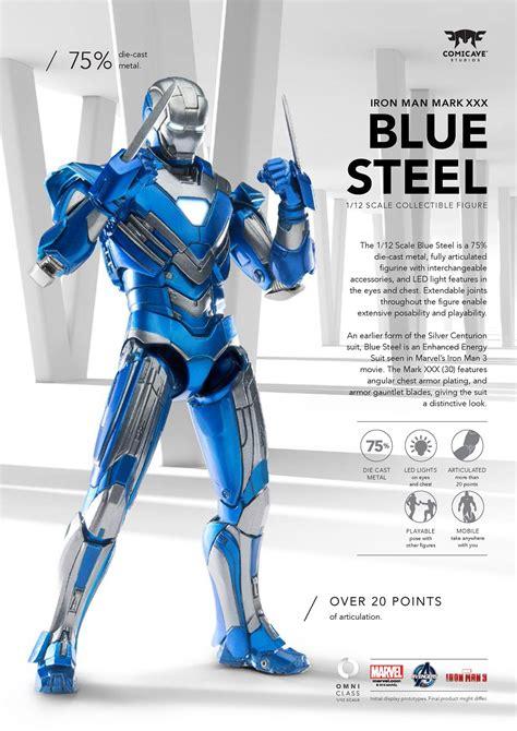comicave scale iron man mark xxx blue steel armor