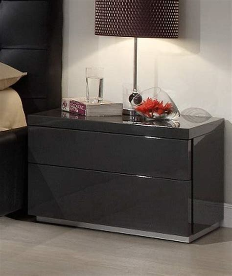 bedroom stand dark grey gloss functional night stand for contemporary