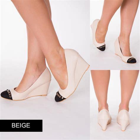 Wedges T 1 3 8 Hitam Limited gold black blue beige court shoes closed toe wedges platform size 3 8 ebay