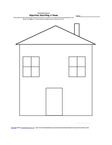 house sheets write adjectives describing a picture printable