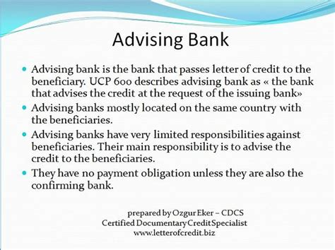 Letter Of Credit Banks Involved To Letter Of Credit Presentation 1 Lc