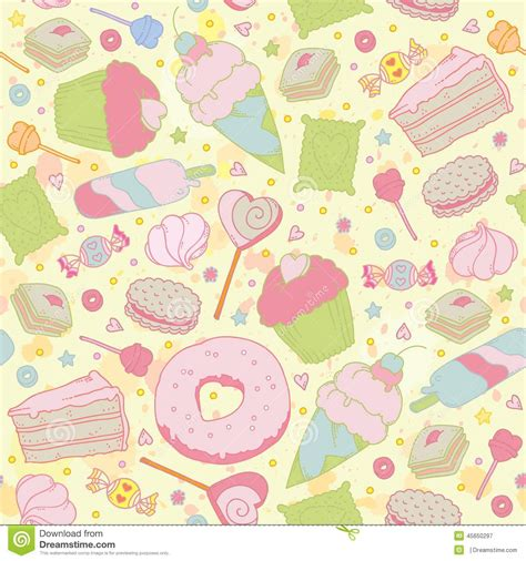 Sweet Pattern Card 6 sweet seamless pattern cupcakes stock vector image 45650297