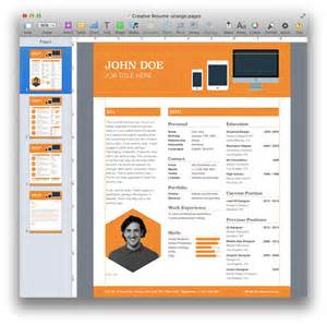 Creative Resume Free Templates by Creative Resume Template For Pages Mactemplates