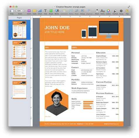 creative resume templates for mac creative resume template for pages mactemplates
